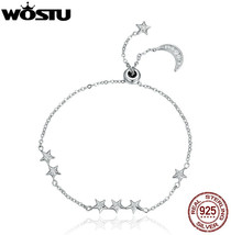 WOSTU Brand New Real 925 Sterling Silver Moon and Stars Adjustable Chain... - $20.17+