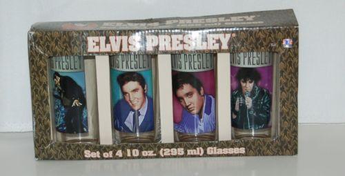 Vandor 47302 Set 4 Elvis Presley Glasses 10 Ounces Different Pictures