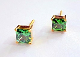 Gorgeous 22 K Yellow Gold Green Square Cubic Zircon Women Man Unisex Stud - $197.99