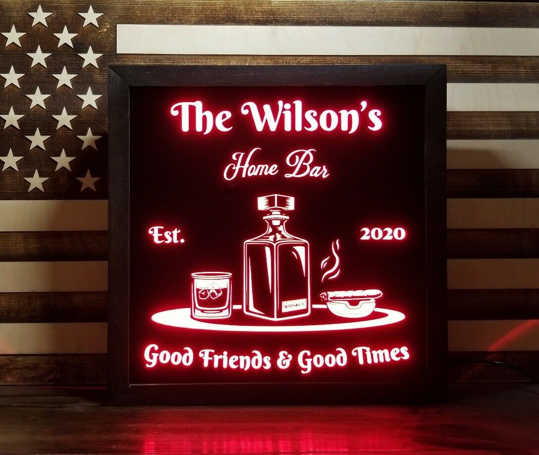 Primary image for Custom Whiskey LED Sign Personalized, Home bar pub Sign, Lighted Sign