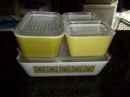 Pyrex Hibiscus AKA Verde Refridgerator Boxes 8 piece set 2-501, 1- 0502,... - $76.67