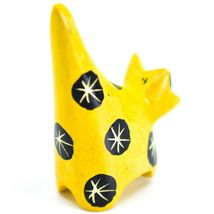 Tabaka Chigware Hand Carved Kisii Soapstone Tiny Miniature Yellow Cat Figurine image 3