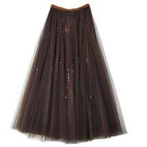 Wine Red Long Tulle Sequin Skirt High Waisted Red Christmas Holiday Skirt Outfit image 6