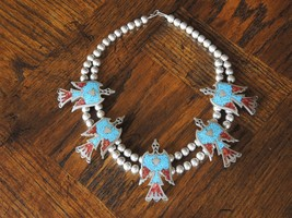 Vintage Turquoise & Coral Chip Inlay Waterbird ... - $275.83