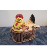 Ceramic Hen on Nest Soup Tureen With Spoon Ladle Gravy Boat  - $24.85