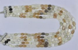 NATURAL MULTI MOONSTONE BEADS CABOCHON 5 LINE 950 CTS GEMSTONE LADIES NECKLACE image 5