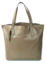 Coach Brown Flint Leather Signature Shopper Tote Bag Medium Handbag - £278.08 GBP
