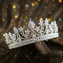 Full Zircon Large Tiara Copper Zircon Tiaras Micro Pave CZ Bride Crown W... - £79.53 GBP