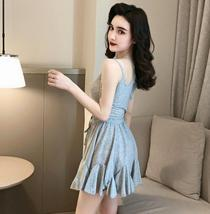 Solid color sexy off-the-shoulder personality unilateral sling skater dress image 11