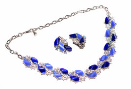 Gorgeous 1950's Vintage Blue Lucite Aurora Borealis Rhinestone Necklace and Earr - $44.99