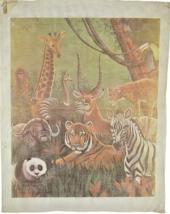 """1970's Vintage Hand Painted Needlepoint Tanzanian Animals Safari """"1302"""" - $85.54"""