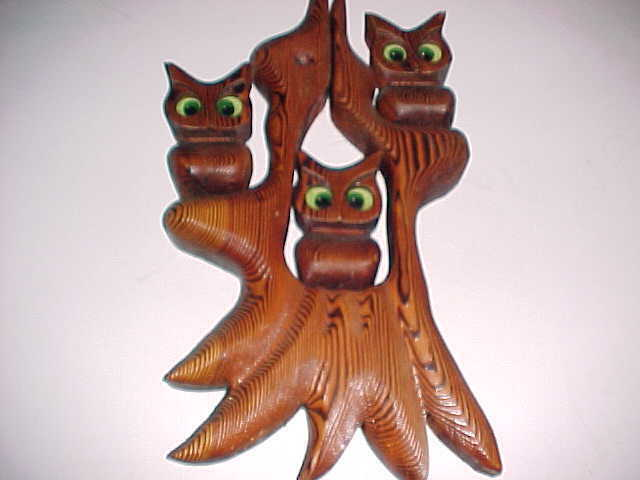 Three Night Owls Green Eyes Perched On Tree Handmade Wood Carving Wall Hanger