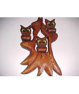 Three Night Owls Green Eyes Perched On Tree Handmade Wood Carving Wall H... - $54.45