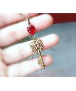 Skeleton key necklace red glass gem necklace vint1 thumbtall