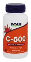 NOW Foods Vitamin C-500 with Rose Hips Vegetarian/Vegan - 100 Tablets - $7.83