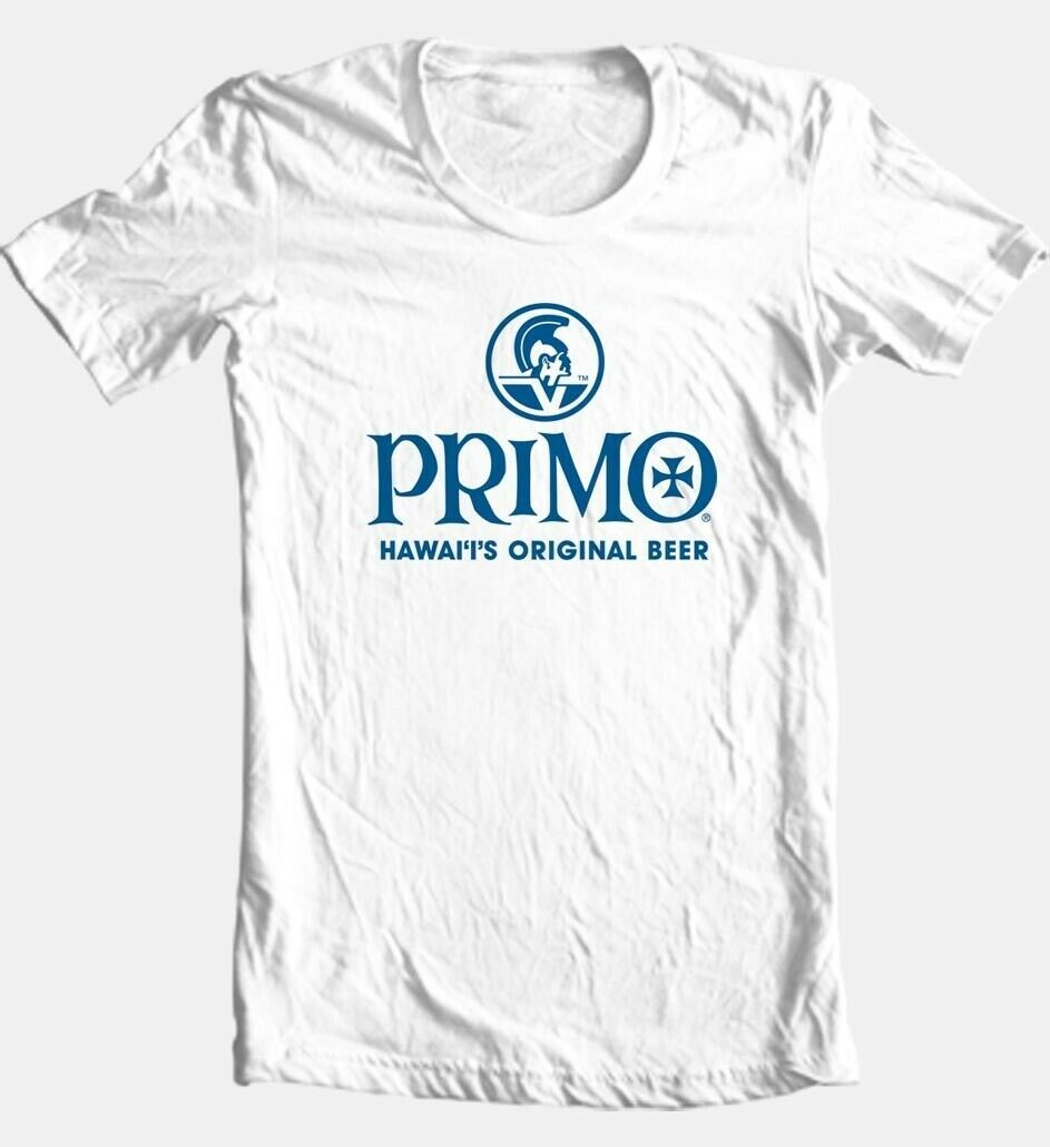 Primo Beer T-shirt Hawaii 100% cotton graphic printed white tee