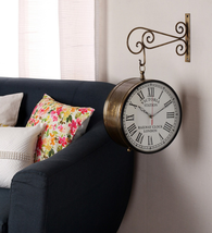 Brown Metal Iron Carving Double Sided Wall Clock - $358.00+