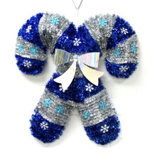 "19"" Christmas Holiday Hanging Tinsel Candy Cane Blue & Silver Decoration... - $15.99"