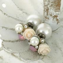 DOUBLE-SIDED vintage faux pearl flower stud earrings - pink rose rhinestone post - $15.00