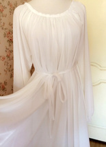 WHITE Chiffon Maxi Beach Holiday Dress long sleeve Plus Size Maternity Dresses image 6
