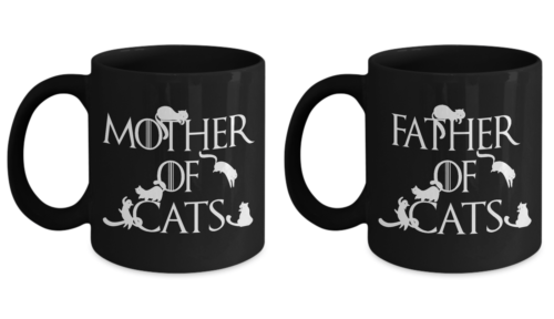 Mother of Cats Father of Cats Cat Parents Game of Thrones Fans Coffee Mug Set