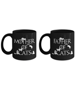 Mother of Cats Father of Cats Cat Parents Game of Thrones Fans Coffee Mu... - $34.25+