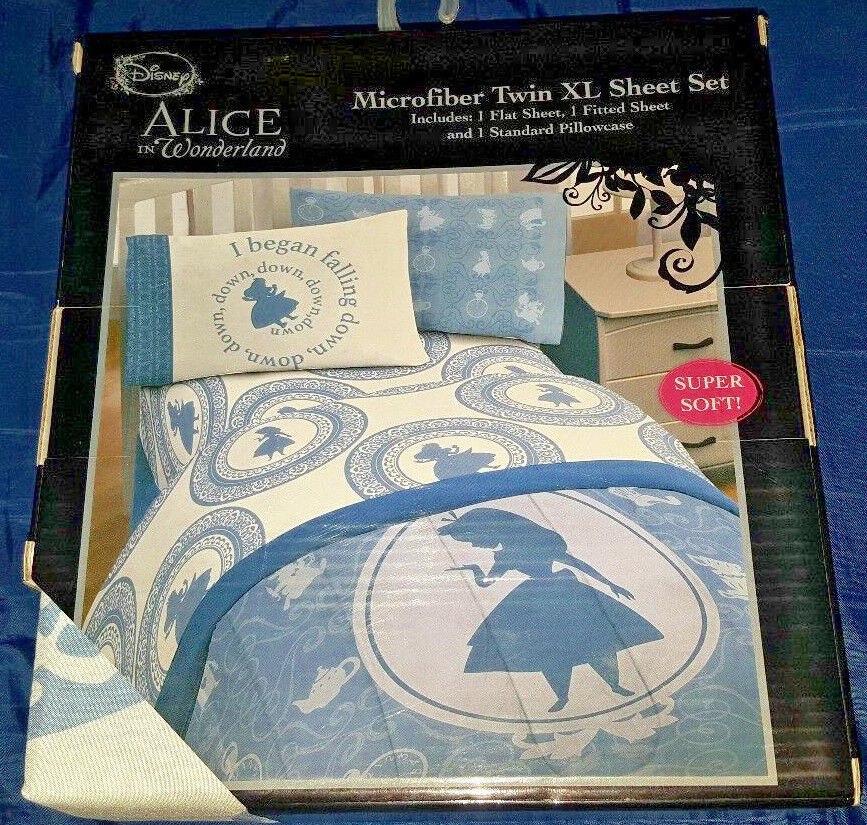 Disney Alice in Wonderland Microfiber Twin XL Sheet Set - NEW