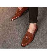 Handmade Men Brown Tassels Shoes, Men Brown Moccasins Shoes, Shoes For Mens - $169.99