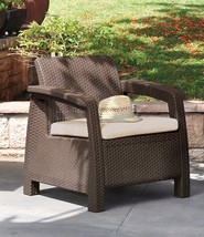 Patio Rattan Armchair Yard Cuchion Chair Outdoor Deck Seat All-Weather F... - $84.94