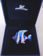 Swarovski Colina Blue Fish Brooch/Pin - MIB Signed Swan - $164.56