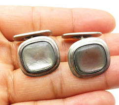 NORWAY 925 Sterling Silver - Vintage Mother Of Pearl Square Cuff Links -... - $50.67