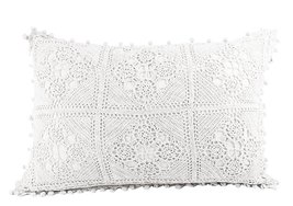 Fennco Styles Handmade Floral Crochet Lace Decorative Throw Pillow with ... - $36.62