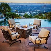 Sunvilla Milano Cast Aluminum Outdoor Firepit Chat Set Patio Furniture T... - £1,898.47 GBP