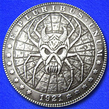 "Spider Skull ""Hobo Nickel"" on Morgan  Dollar Coin ** - $4.79"