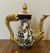 Cloisonne Miniature Floral Dragon Handle Teapot Pitcher With Lid Enamele... - $46.74