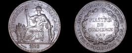 1898-A French Indo-China 1 Piastre World Silver Coin - Vietnam - $249.99