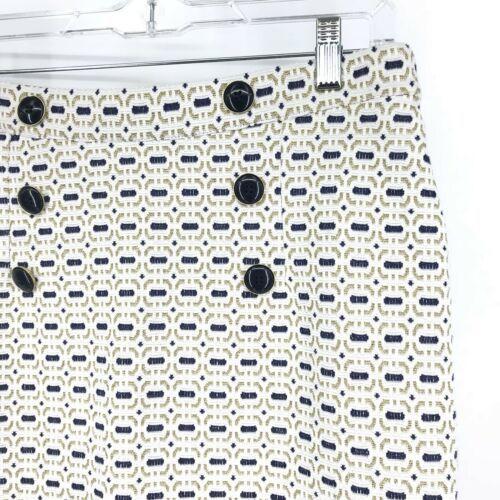 Baum Und Pferdgarten Pencil Skirt Women's Sz M White Blue Gold Metallic Buttons image 3