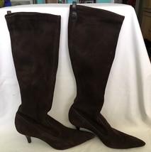 Cole Haan Size 6.5M Dark Brown Suede Stretch Knee High Boots Super Soft ... - $62.89