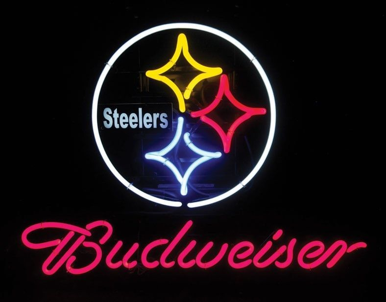 "New Budweiser Pittsburgh Steelers NFL Beer Neon Sign 24""x20"""