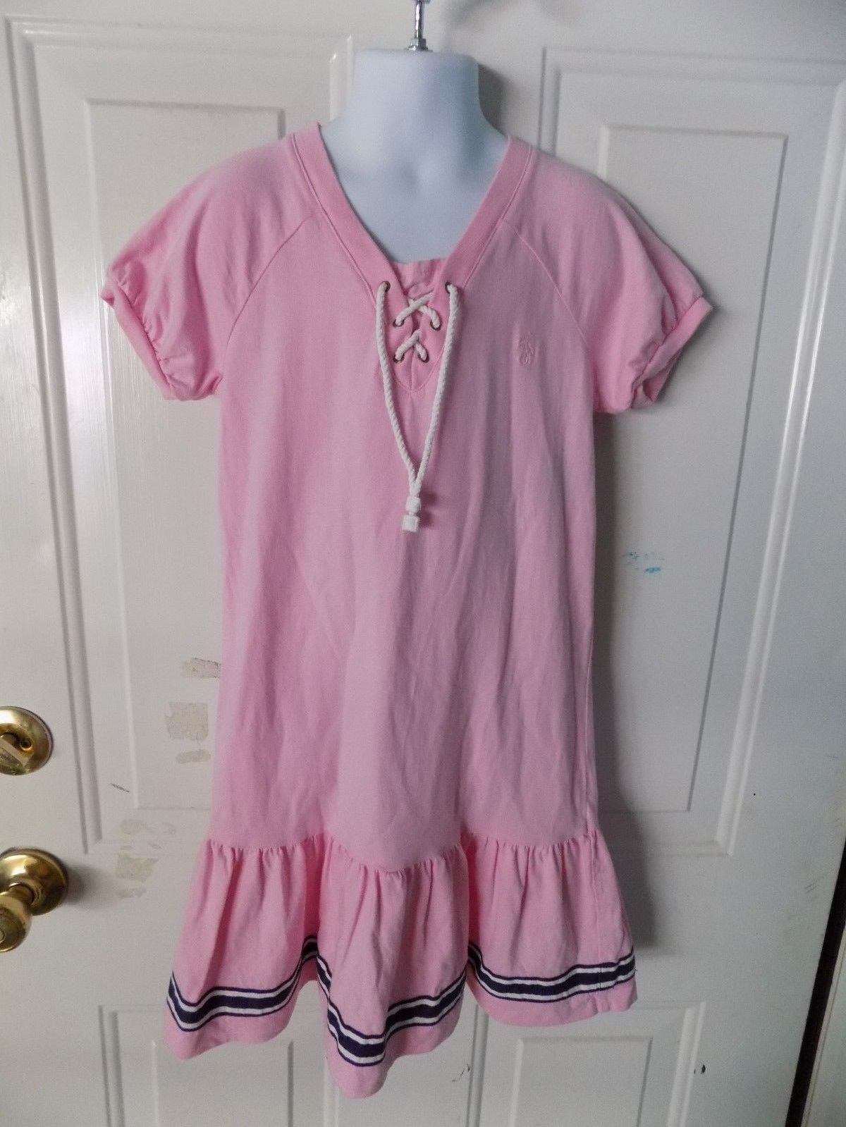 Primary image for Ralph Lauren Pink/White/Blue Lace Tie Short Sleeve Dress Size 6X Girl's EUC HTF