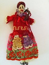 Folk Art Crochet Doll with Two Babies In Her Pockets - $12.38