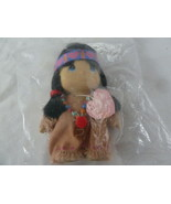 "Precious Moments 1994 Babies American Indian Vinyl Girl Doll 4"" Tall New... - $14.84"