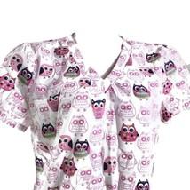 Sanibel Scrubs Owls Pink White Medium Scrub Top - $14.84