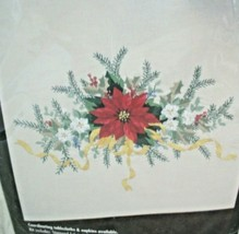 Vintage Bucilla Stamped Embroidery Xmas Victorian Poinsettias Tablerunner Sealed - $19.79