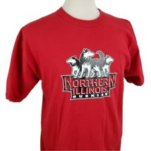 Northern Illinois Huskies NIU T-Shirt Large Crew S/S Red Russell Athleti... - $15.99