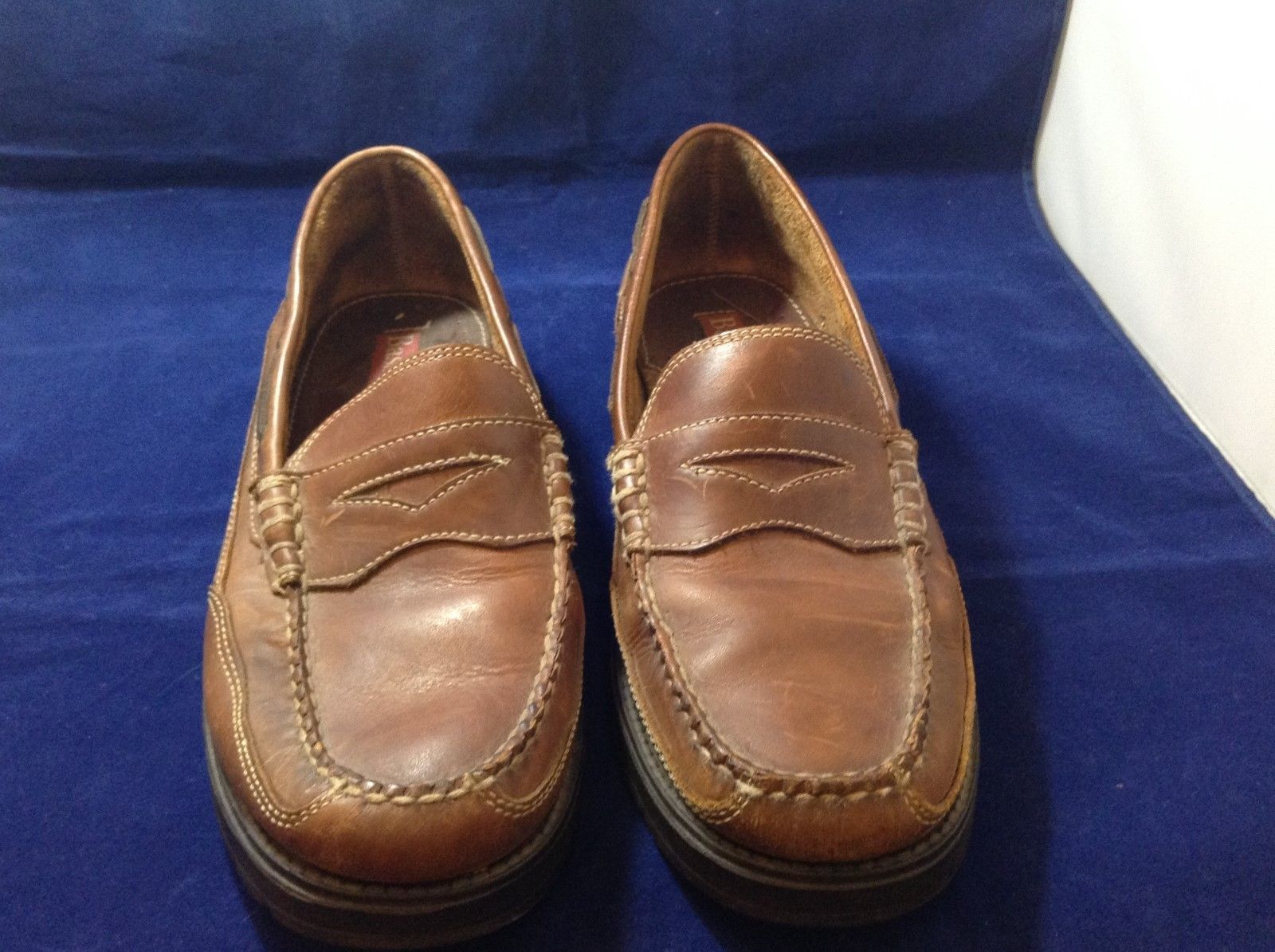 Bass Flex Men's Brown Leather Penny Loafers Sz 10M