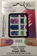 Nail Art 10 French &10 Full Purple Pink Blue Green New 20 count Sassy & ... - $4.09