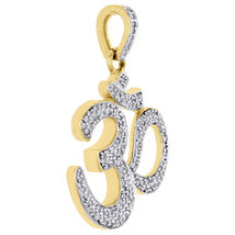 Hindu Religious Om Pendant 14k Yellow Gold Plated 925 Silver Round Cut White CZ - $80.32
