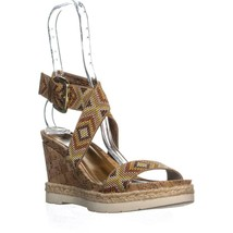 White Mountain Pearle Platform Wedges, Natural Multi, 9.5 US - $26.87