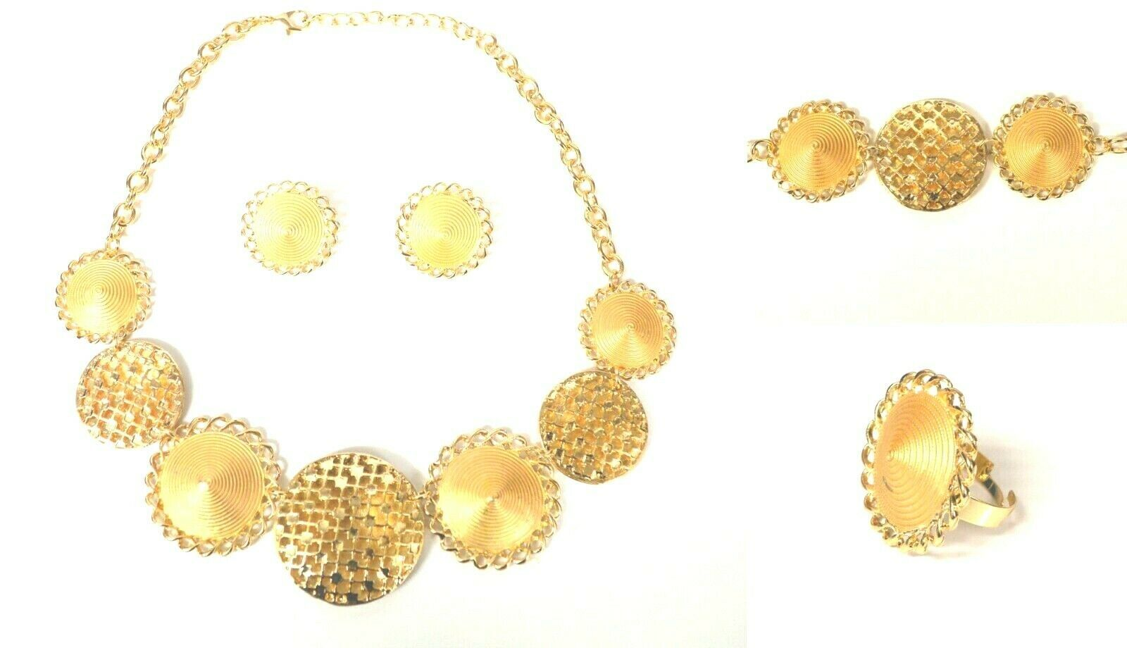 Primary image for STATEMENT CHUNKY GLAM CIRCLE VINTAGE FOUR PIECE JEWELLERY NECKLACE SET GOLD